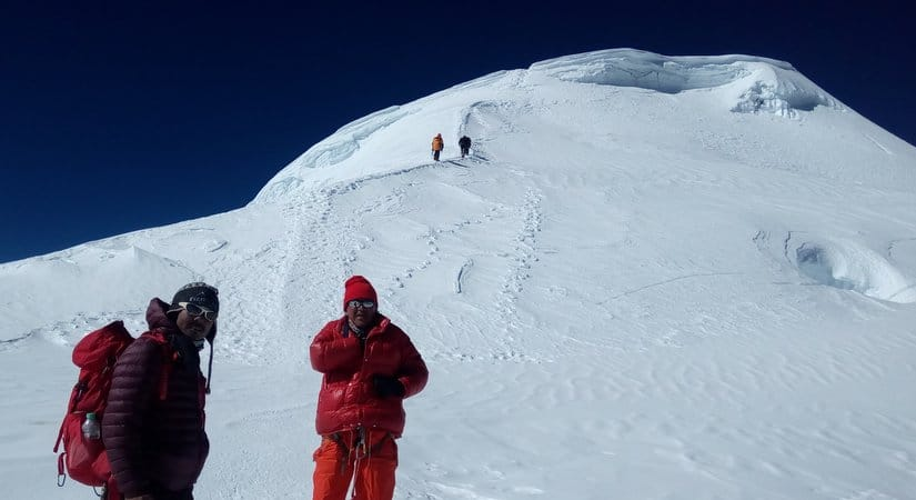 Following the ridge of Mera Peak Summit