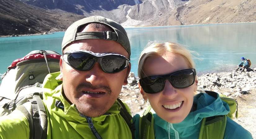 Our guide Dendi Sherpa and our Climbing Lover Guest at Gokyo Lake