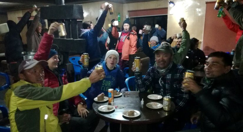 Celebrating after successful summit of Island and Mera Peak