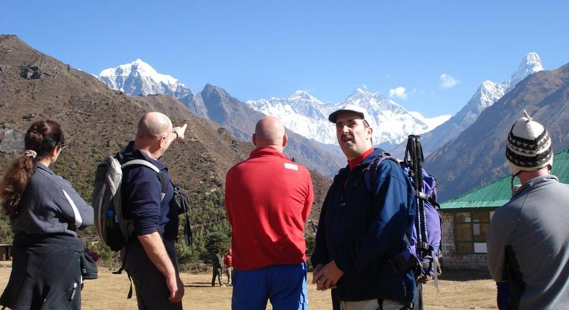 View from Namche Bazaar (3440m/11283ft) of World Highest Mountain Everest (8848m)