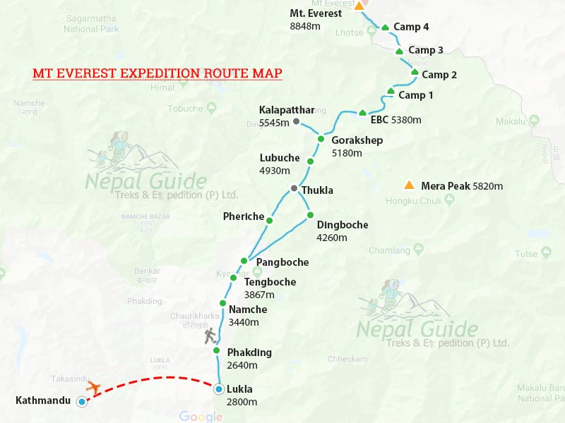 Mt Everest Route Map