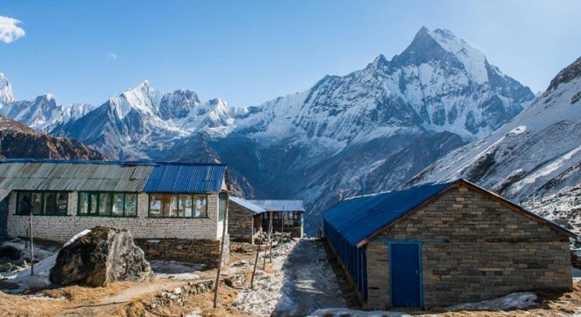 At Annapurna Base Camp (4130m/13546ft) Background Annapurna Himalayan Range
