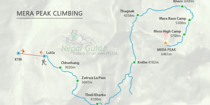Mera Peak Map – Day to Day Guided Map