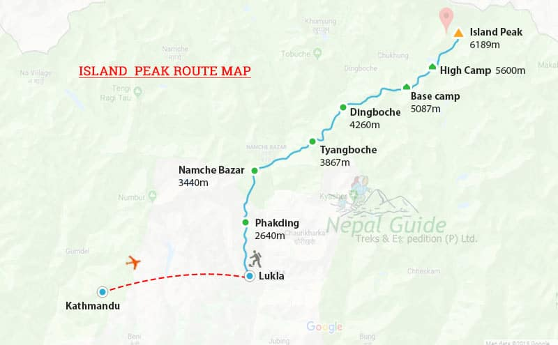 Island Peak Route Map