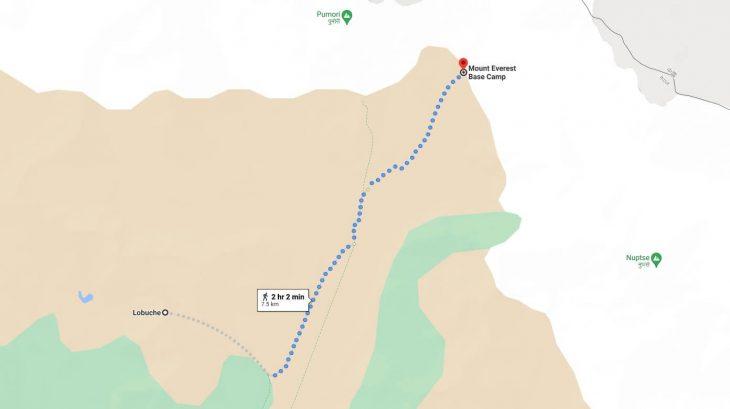 Lobuche to Everest Base Camp Distance